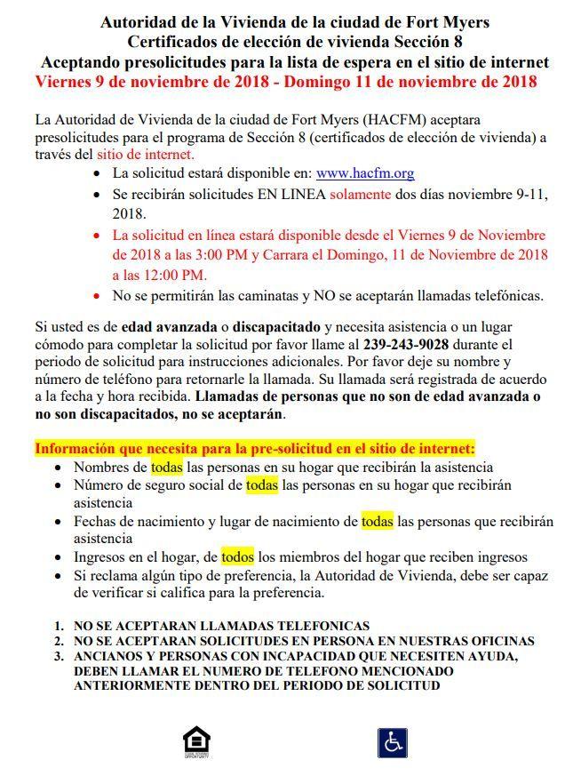 11 09 18 Florida Housing Alert Spanish Section 8 Housing List Section 8