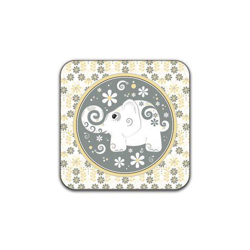 White Elephant Floral Coaster by wasootch at zippi.co.uk