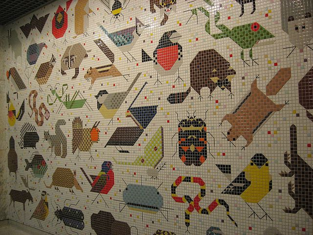 Charley harper 39 s mural in the john weld peck federal for Charley harper mural