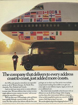 1988 UPS United Parcel Service Global Delivery Original Print Ad ~ UPS delivering the holidays for generations #NotABox  #UPSHappy