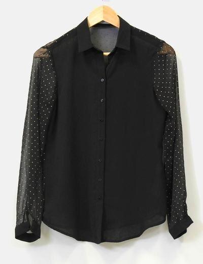 Blusa negra transparente con tachuelas Zara