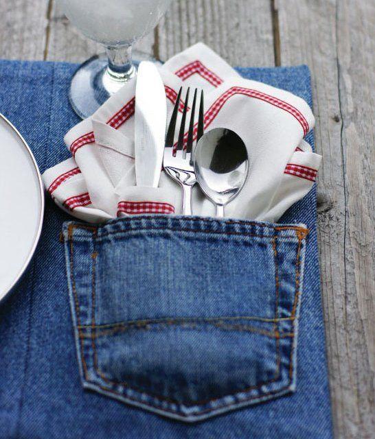 Jeanstasche für Besteck