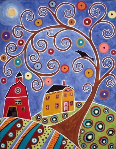 RUG HOOK PAPER PATTERN Swirl Tree House & Barn FOLK ART ABSTRACT by Karla G | eBay