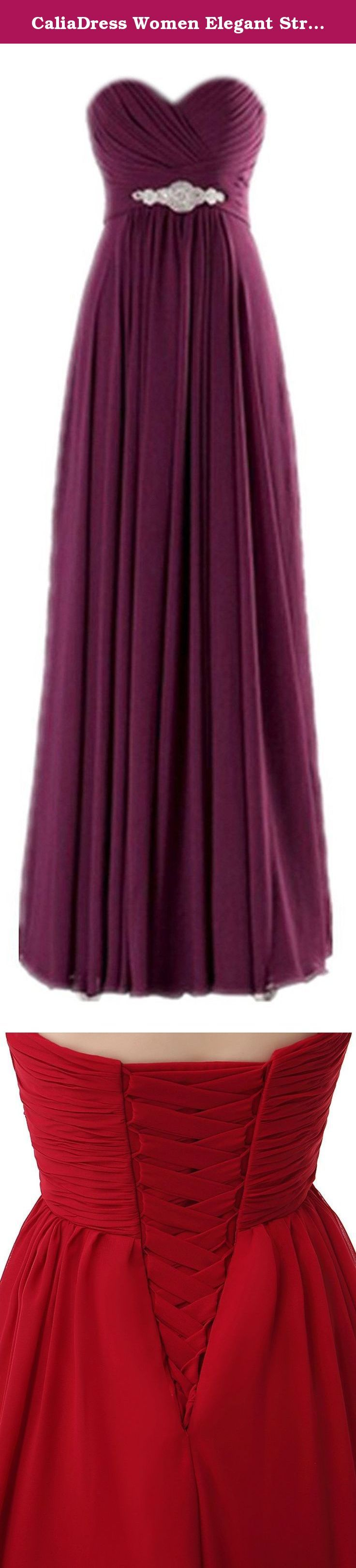 CaliaDress Women Elegant Strapless Bridesmaid Dress Long Prom Formal Gowns C271LF Grape Purple US24W. Welcome to CaliaDress: Note: 1.This pretty dress is made of chiffon,soft material,good feeling,hand-made,gorgeous design,popular color,elegant,fashion,show your noble and elegant temperament. 2.The floor length A line sweetheart design,encrusted with beadings,rhinestones.fashion,practical and perfect gift for classy and elegant ladies. 3.The elegant dress appropriate for a...