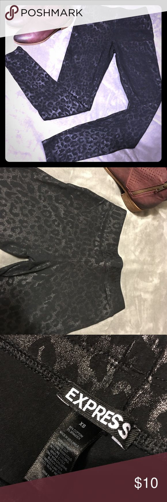 Express leopard print leggings Only worn once! No signs of wear. Fits a size 0...Comes from smoke free, pet free home. Shipping dates are Tuesday through Friday Express Pants Leggings