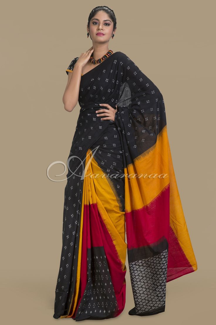Black Ikkat cotton Saree designs, Elegant saree, Cotton