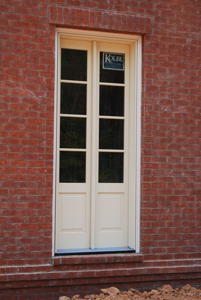 narrow french doors (actually sidelights mulled together (MUCH cheaper than custom doors!)