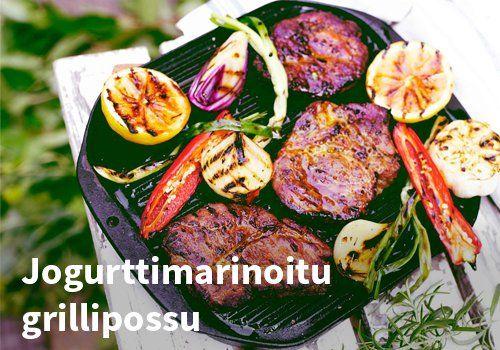 Jogurttimarinoitu grillipossu, resepti: VAlio #kauppahalli24 #resepti #ruokaidea #jogurttimarinadi #grillipossu #grilliruoka #verkkoruokakauppa