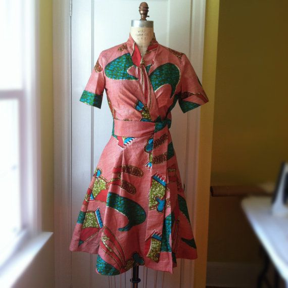 African Print Wrap Dress with Pockets Clippers by abbiechambers, $175.00