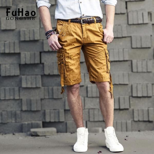 FuzWeb:Men's Shorts Summer Men Shorts Cotton Casual Mens Military Style Army Tactical Long Cargo Shorts Male Plus Size