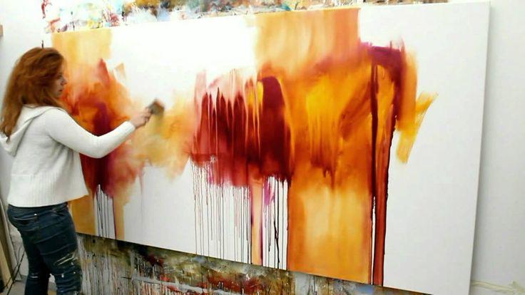 "Abstract acrylic painting Demo - Abstrakte Malerei ""Flüsterzeit"" by Zach..."