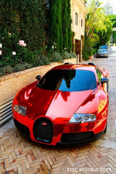 A red Bugatti Veyron