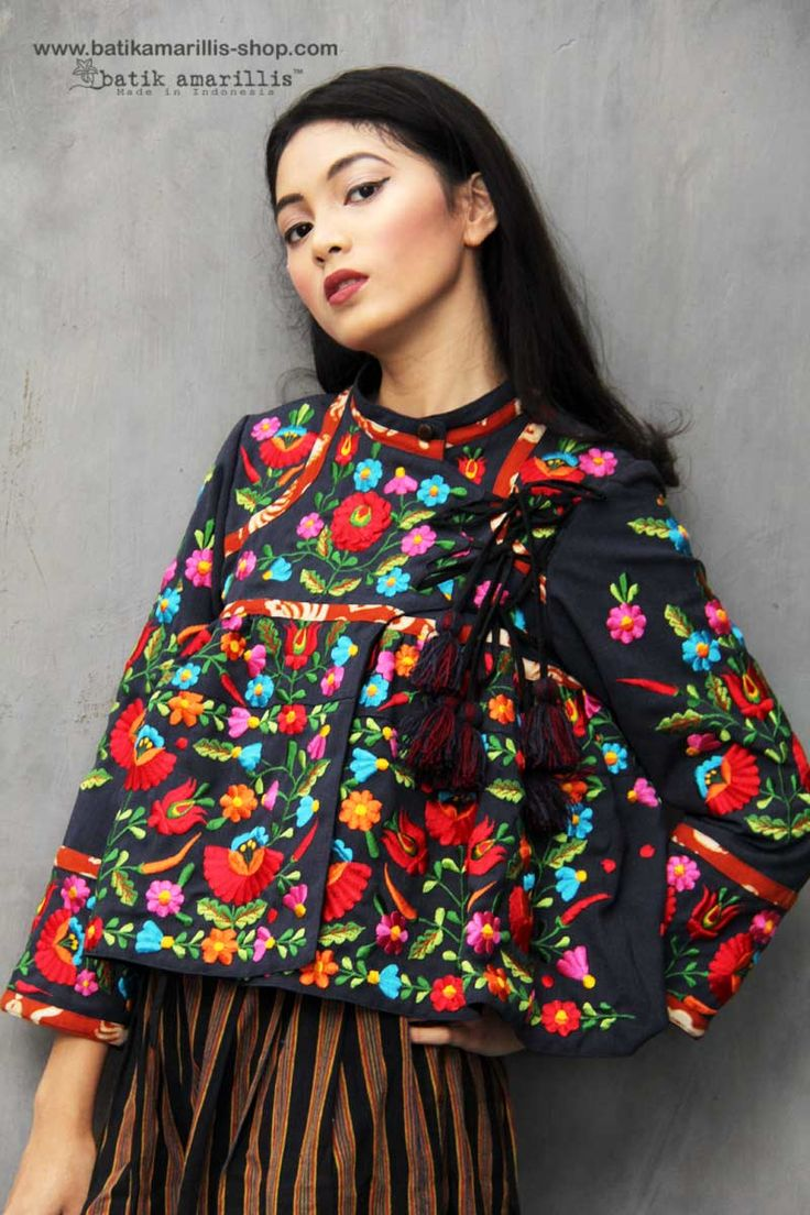 Batik Amarillis made in Indonesia www.batikamarillis-shop.com.  Batik Amarilliis's Shikhara jacket which features Hungarian embroidery style-  also features beautiful & colorful tassels This is Traditional Rabari ( Indian community in Gujarat ) male outfit's inspired, consists of a fitted bodice with loosely gathered pleats down below with our patchwork's trademark, with front & back yoke make this tribal look, so unique & special!