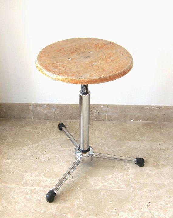 Vintage Industrial Adjustable Stool; Mid Century chair; Wood and Tubular Chrome Bar Stool