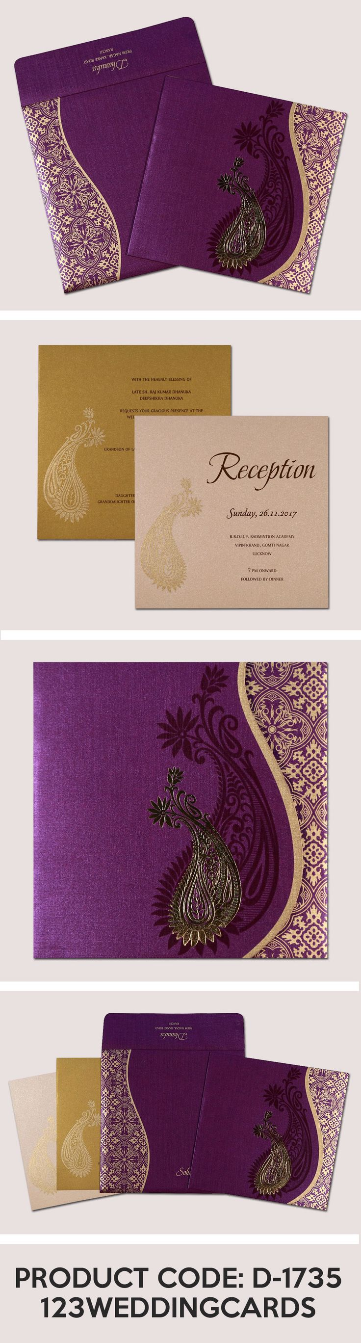 matter for wedding invitation in gujarati%0A Purple shimmery paisley themed  foil stamped wedding invitations   d