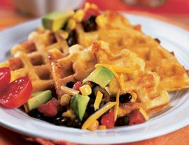 Cheddar Cornmeal Waffles?  Never had savory waffles before... I'm curious :)