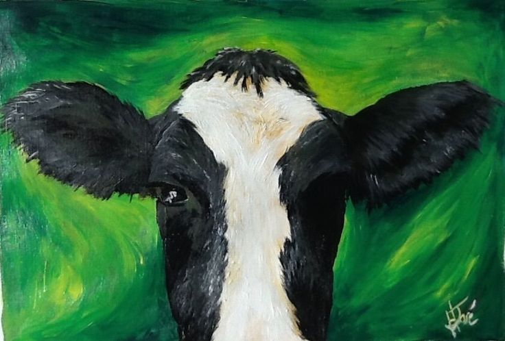 Original acrylic painting, signed H. JOSÉ, Alert Cow Keeping an Eye and Ear Open