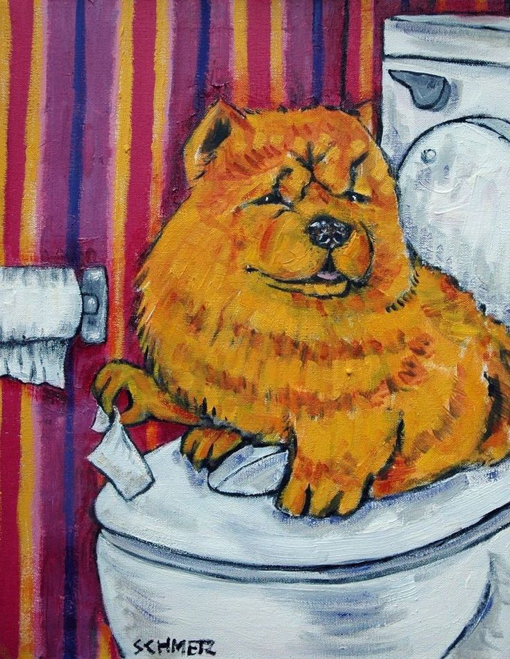 chow chow dog bathroom signed art print 8x10 animals impressionism gift new #modern