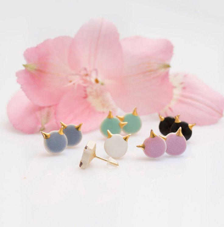 Gold cat earrings Cat stud earrings Ceramic by ZuDesignJewelry