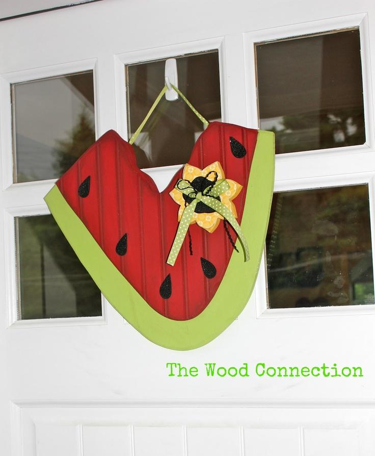 Watermelon Door Hang... love watermelonsCrafts Ideas, Doors Hangers, Crafty, Summer Decor, Watermelon Doors, Doors Hanging, Wood Crafts, Wood Connection, Connection Projects