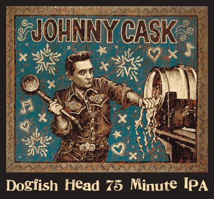 Johnny Cask - Dogfish Head 75 Minute IPA label art by John Langford. SO awesome.