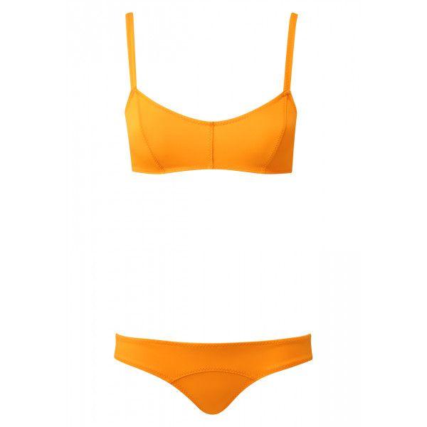 Genevieve Marigold Bonded Bikini Lisa Marie Fernandez ❤ liked on Polyvore featuring swimwear, bikinis, bathing suit, full bust swimwear, retro swimwear, full figure bikini, retro swim wear and full figure swimwear