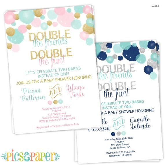 Double Baby Shower Invitation for a Boy and a Girl- Light Teal, Pink and Gold- Twins Baby Shower- Two Babies Baby Shower Invite- Joint Party