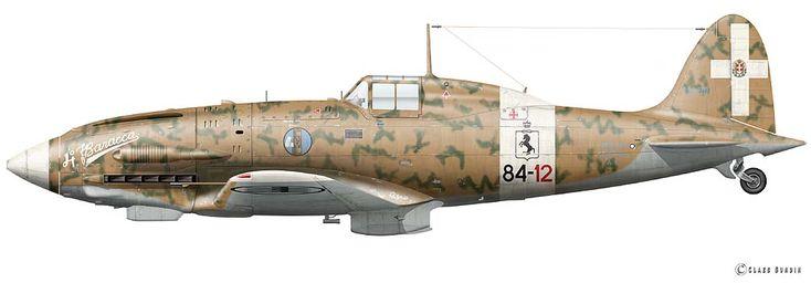 """Macchi C.202 """"Folgore"""" Flown by Capitano Franco Lucchini, 84 Squadriglia X Gruppo C.T. 4 Stormo, Fuka/Libya, October 24 1942.  © Claes Sundin 2011"""