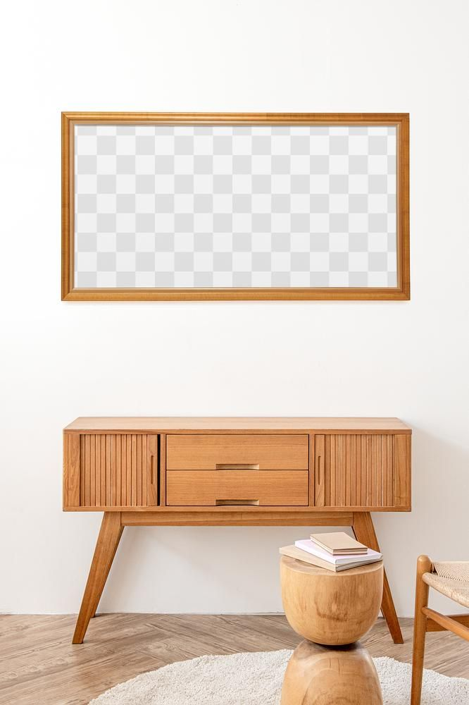 Picture Frame Mockup Above A Wooden Sideboard Table Free Image By Rawpixel Com Chanikarn Thongsupa In 2020 Sideboard Decor Wooden Sideboard Sideboard Table