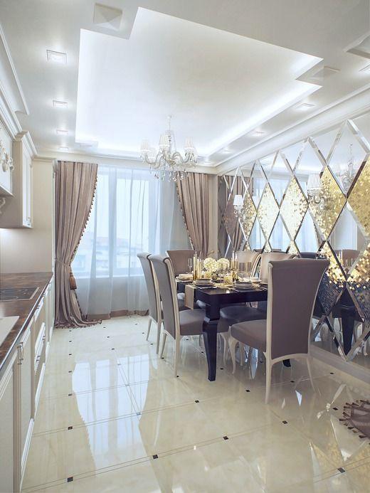 Красивую зеркальную стену украшает наливной пол под мрамор