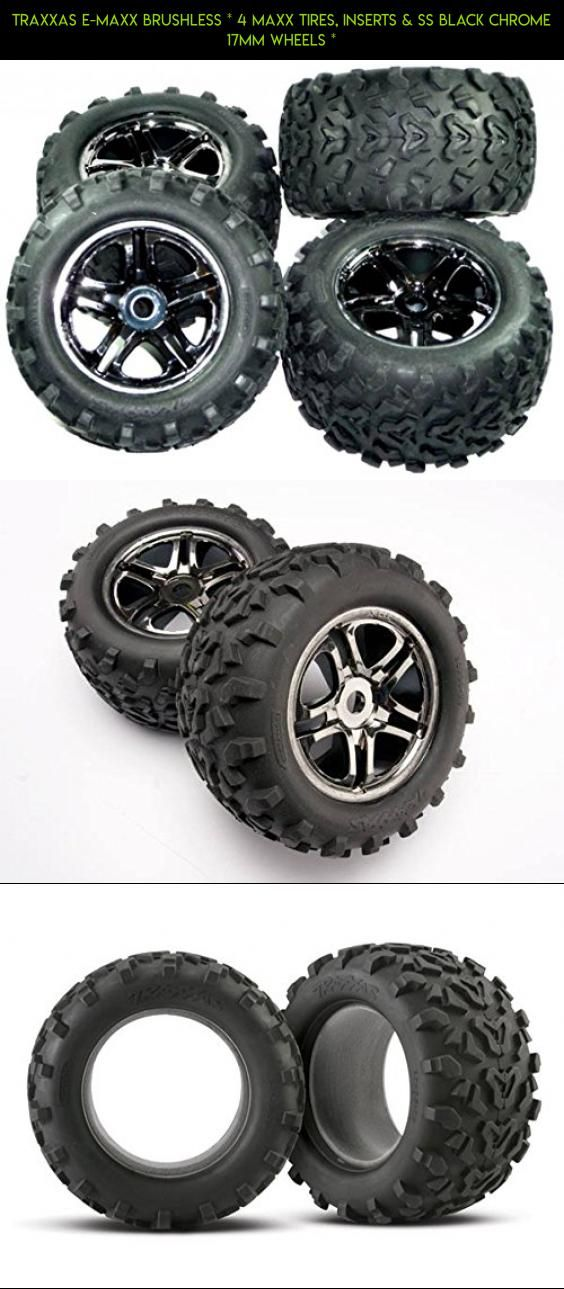 Traxxas E-Maxx Brushless * 4 MAXX TIRES, INSERTS & SS BLACK CHROME 17mm WHEELS * #shopping #emaxx #parts #technology #gadgets #racing #parts #fpv #plans #products #tech #kit #camera #drone #traxxas