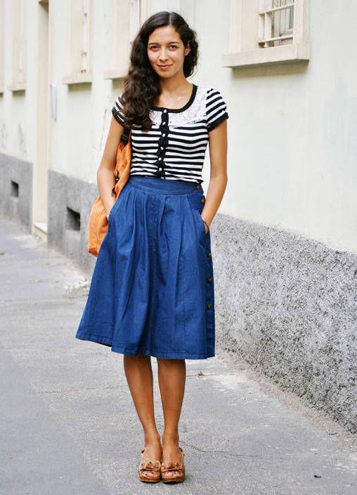 Italian girl in blue summer dresses