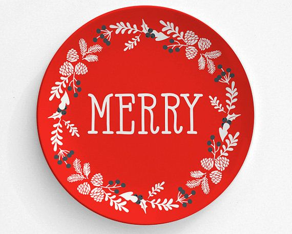 Merry Christmas Cookie Plate Melamine Plate by TheRekindledPage  sc 1 st  Pinterest & 137 best Melamine Plates And Platters images on Pinterest | Dinner ...