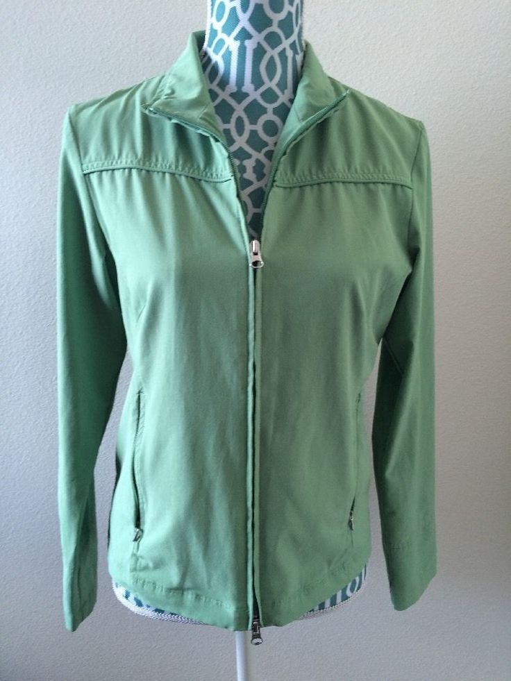 Lucy Athletic Wear Double Front Zip Running Jacket Breathable Vents Green Size M | eBay