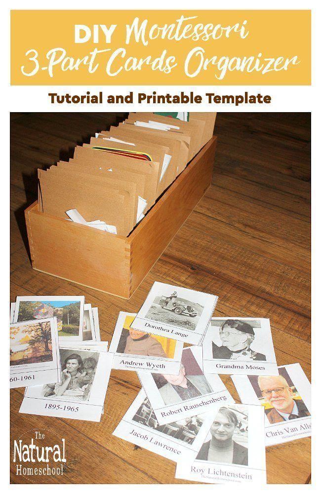 Diy Montessori 3 Part Cards Organizer Tutorial And Printable Template The Natural Homeschool Homeschool Montessori Card Organizer