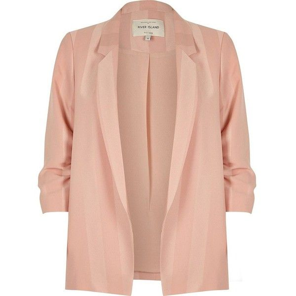 River Island Plus blush pink ruched sleeve blazer ($110) ❤ liked on Polyvore featuring outerwear, jackets, blazers, coats / jackets, pink, women, ruched sleeve blazer, striped blazer, red blazer jacket and plus size womens jackets