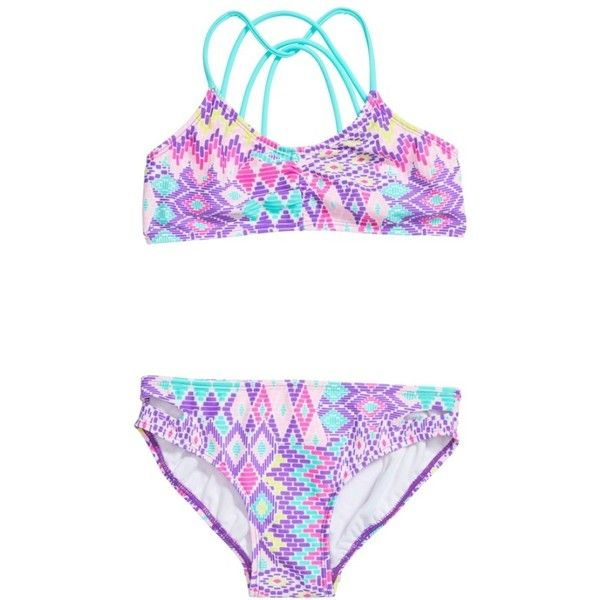 Girl's Gossip Girl Print Two-Piece Swimsuit ($25) ❤ liked on Polyvore featuring swimwear, bikinis, purple, 2 piece swimsuits, bathing suits two piece, two piece bikini, bathing suits bikini and 2 piece bathing suits