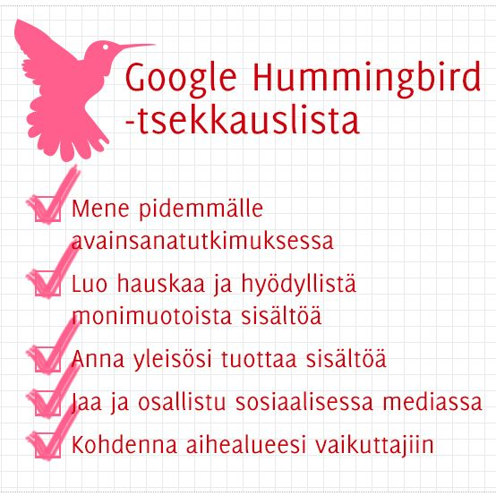5 asiaa joilla huomioit Google Hummingbird-hakualgoritmin sisällöissäsi