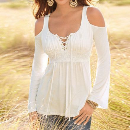 Mujeres Otoño blusas Sólido V-Cuello mangas largas Sin tirantes Hembra camisas Dama Ropa -Blanco