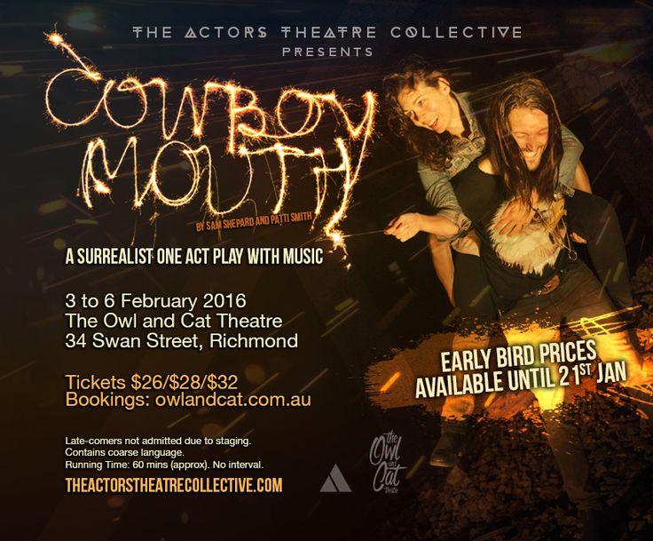 Cowboy Mouth e-Card Actors Theatre Collective 2016 Leah Baulch - Cavale Josh Futcher - Slim Graphic design @cutrush