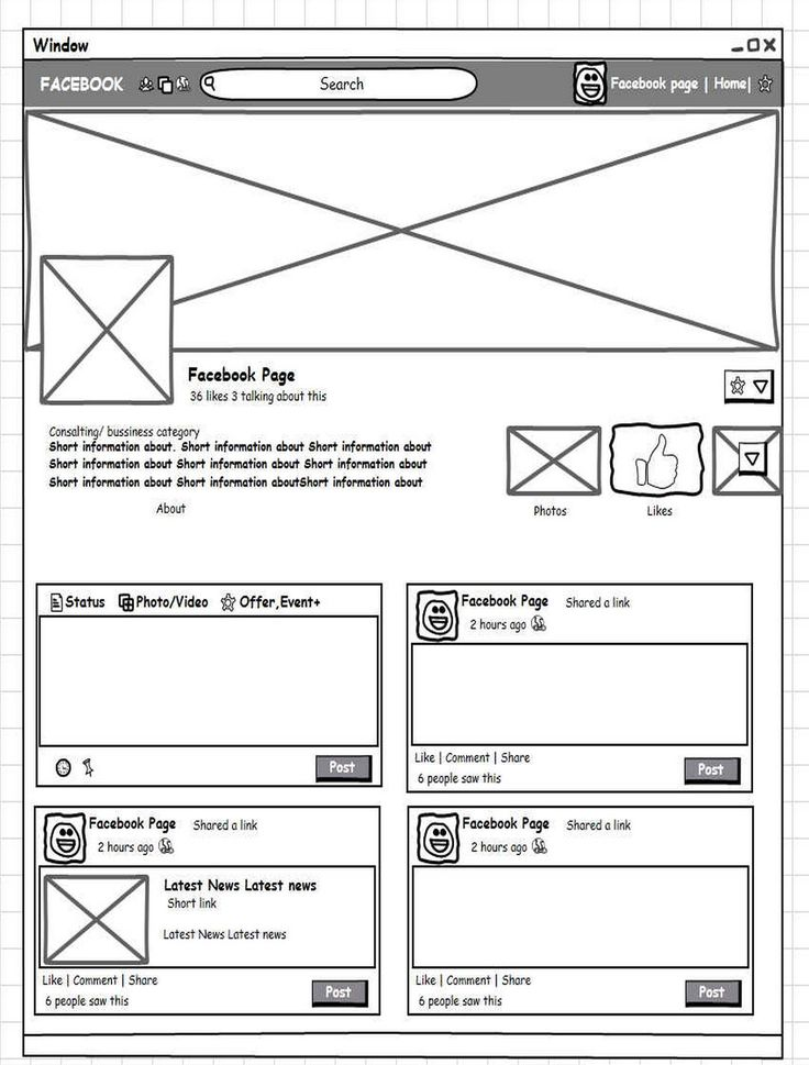 Facebook fan page wireframe. Available for free: http://mockupbuilder.com/Gallery/213