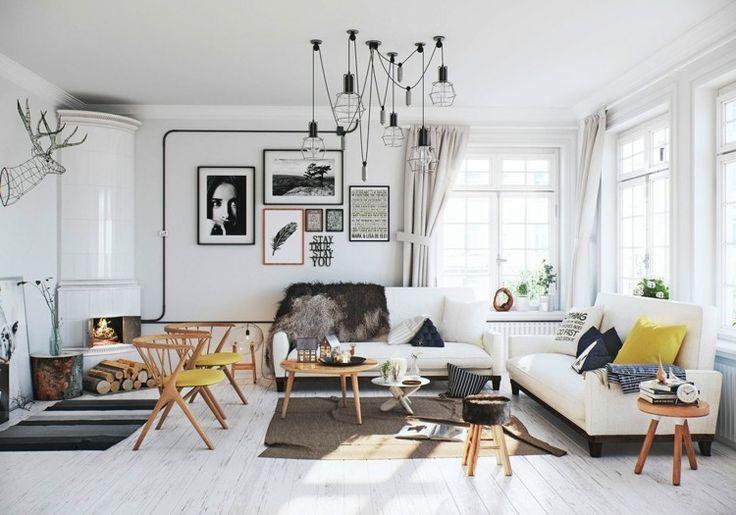 Skandinavisches Wohnzimmer mit Fellakzent und weißem und natürlichem Holz