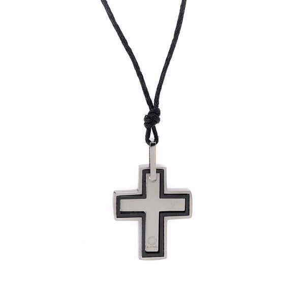 Ανδρικός σταυρός ατσάλι καουτσούκ-βινύλιο,μαύρο