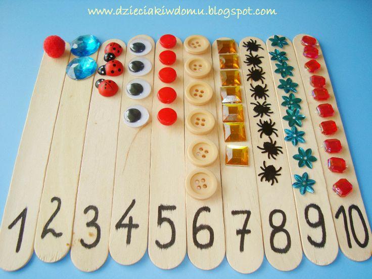 kreatywne cyferki na patyczkach, nauka liczenia 1-10, matematyka dla dzieci kreatywnie
