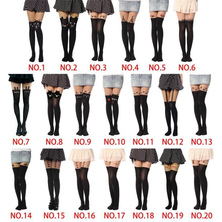 Tights pantyhose wanita seksi stoking cat pola cetak kartun 20 gaya musim semi & musim gugur mock collant media pantis wanita femme