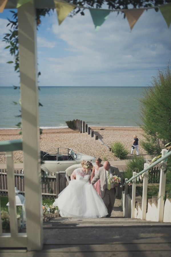 beach wedding south west uk%0A The bride arrives at the Artists Beach House
