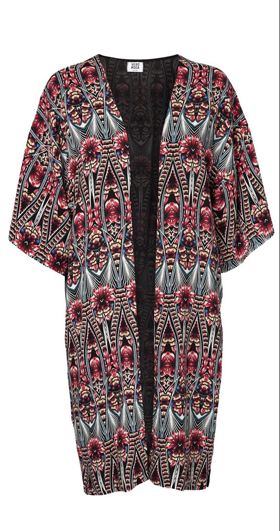 Dream weaver kimono If you've been looking for a statement piece to add to your wardrobe look no further! The bold print is nothing short of psychedelic and will make you the center of attention. This funky kimono will instantly take any outfit from drab to fab.