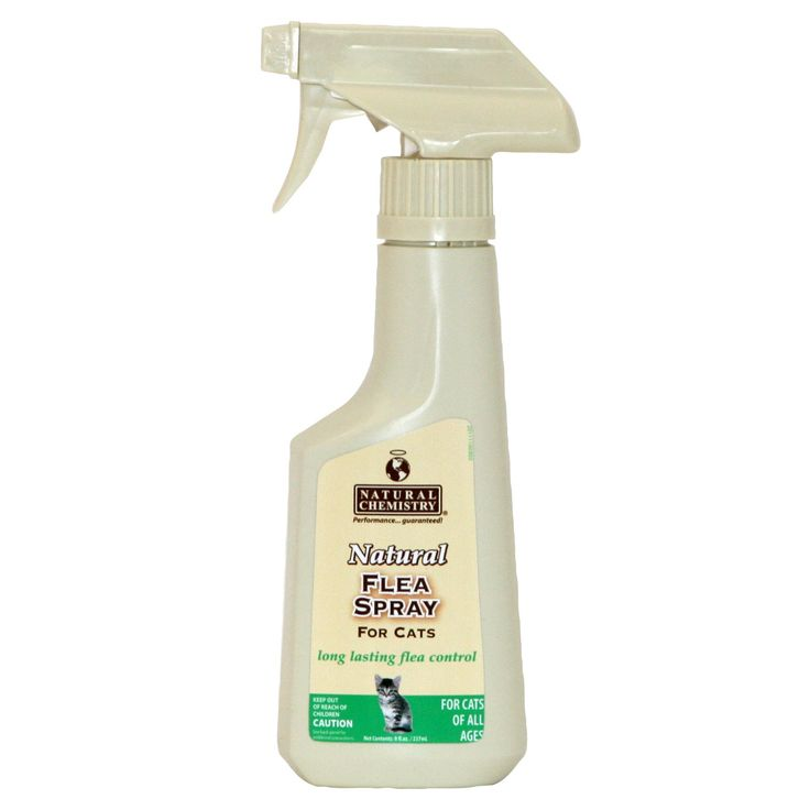 Natural Chemistry Natural Cat Flea Spray - 8 fl.oz. spray. Botanical formula kills fleas on contact. Provides flea control for up to one week. Contains no pyrethrins. No mixing required; spray is ready to use. Safe for cats and kittens of any age. - https://www.petco.com/shop/en/petcostore/product/natural-chemistry-natural-cat-flea-spray