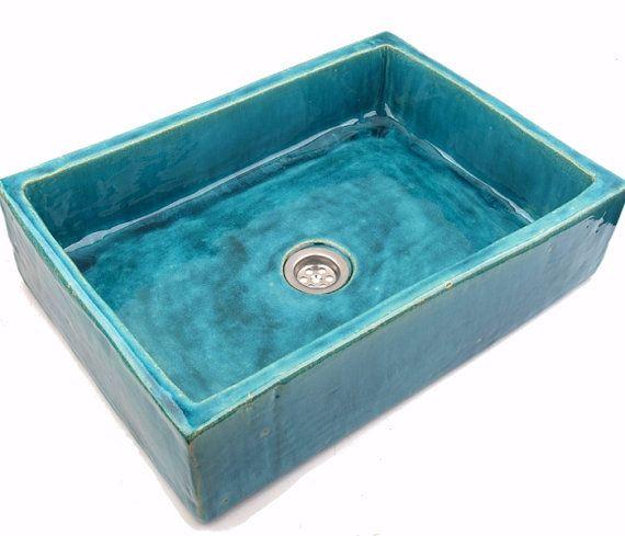 Turquoise wastafel gootsteen ongebruikelijke wastafel