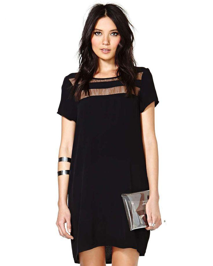 Shop Black Contrast Sheer Short Sleeve Loose Dress online. Sheinside offers Black Contrast Sheer Short Sleeve Loose Dress & more to fit your fashionable needs. Free Shipping Worldwide!